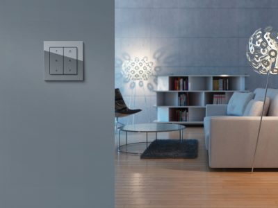 Modern black and white livingroom in modern 3d rendered interior (focus on couch and lamp)